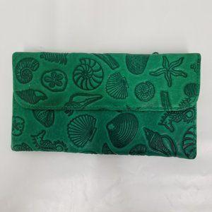 New Michael Stevens Green Leather Wallet - Shells